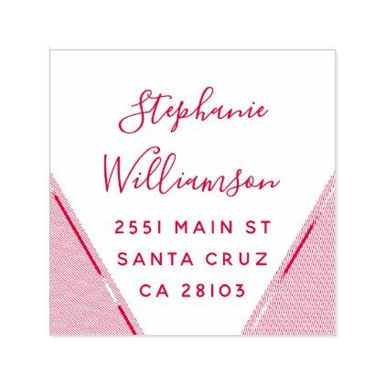Chic Fuchsia Geometric Wedding Return Address Self-inking Stamp - red gifts color style cyo diy personalize unique