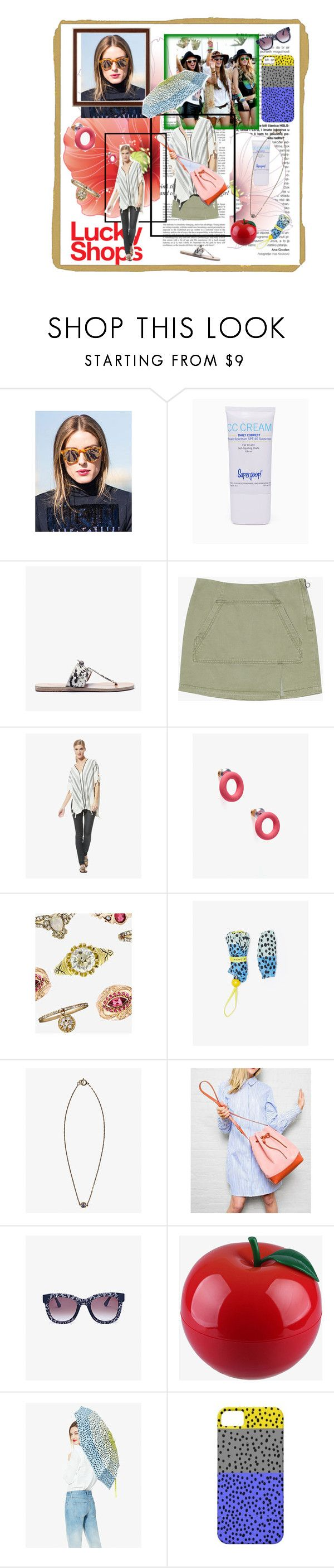 """""""Lucky Shops -contestentry"""" by lataarv ❤ liked on Polyvore featuring Haze, Rifle Paper Co, Supergoop!, Ancient Greek Sandals, Marc by Marc Jacobs, Être Cécile, Susan Alexandra, Petit Bateau, Thierry Lasry and TONYMOLY"""