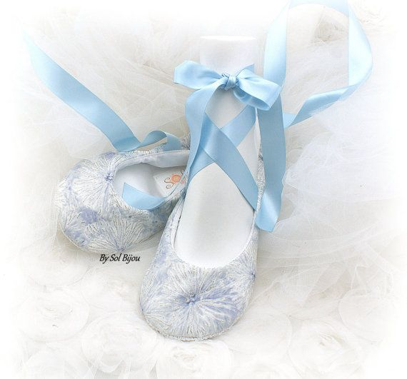 Ballet Flats White Ivory Silver Blue Light Wedding Shoes