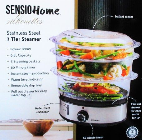 GIVEAWAY - Sensio Home stainless steel 3-tier steamer - giveaway & review