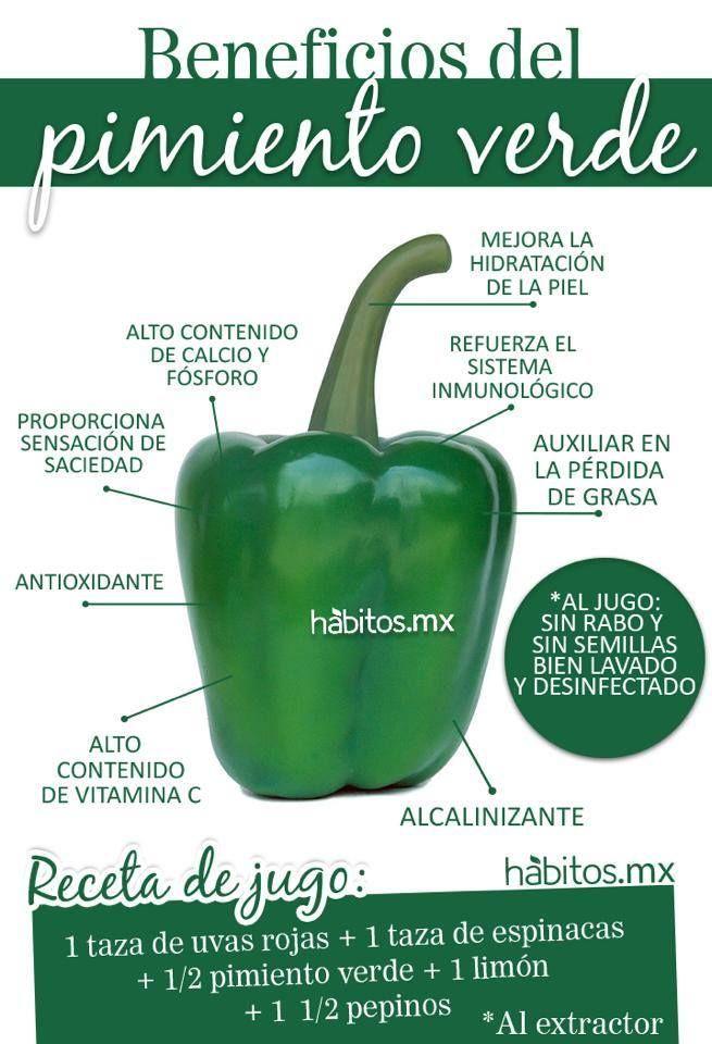 Los saludables beneficios del pimiento verde. #pimiento #salud #infografia