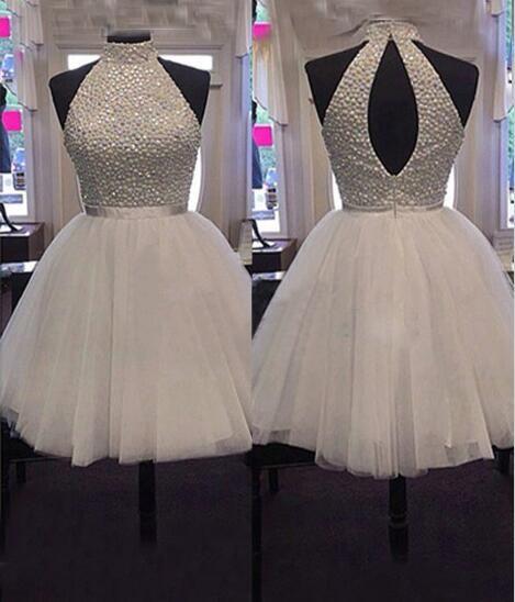 Beaded High Neck Tulle Homecoming Dress Short Prom Dress