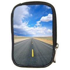 Path To Goal Desert Road Compact Camera Leather Case by FeaturedDesigns