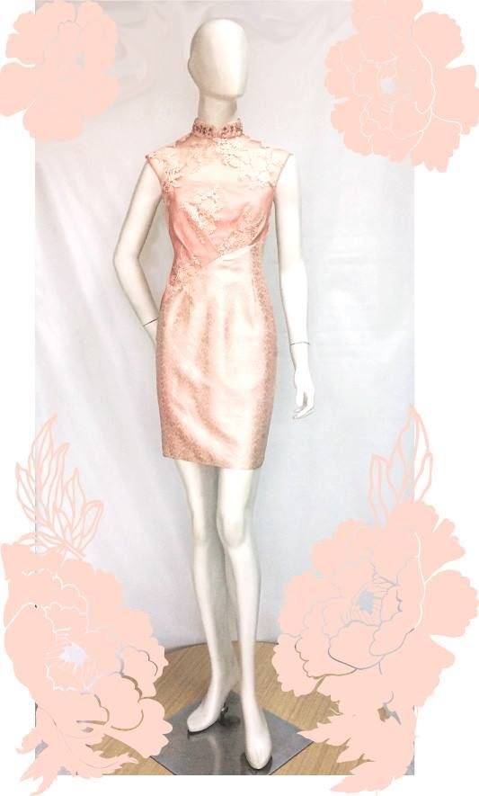 Audrey Qibao in Peach  For pricing, sizing, and ordering details please email us at nmayinda@gmail.com, Whatsapp us at 08111047891, or BB us at 2B07B968.