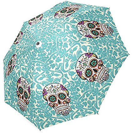 "InterestPrint Stylish Sugar Skull Foldable Umbrella 43"" Arc"