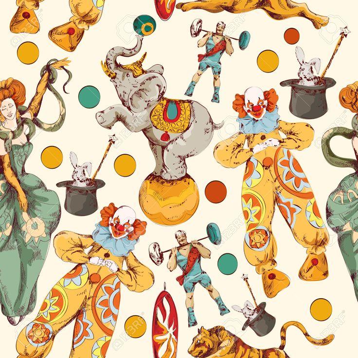Decorative Circo D'epoca Con Clown Magico Bacchetta Trucco Involucro Senza Soluzione Di Modello Di Carta A Colori Doodle Sketch Illustrazione Vettoriale Clipart Royalty-free, Vettori E Illustrator Stock. Image 29455205.