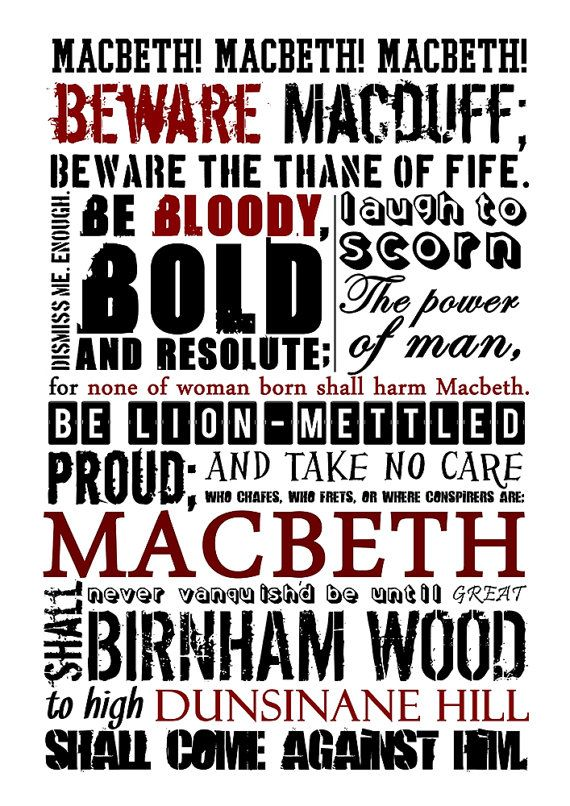SHAKESPEARE Poster Macbeth Poster Shakespeare quote by Redpostbox