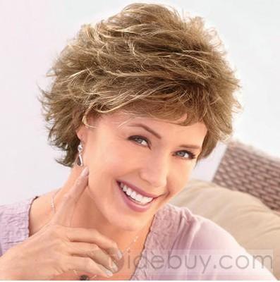 オーダーメイド スイートな女性ヘアスタイル ショートウェービー ストロベリーブロンド 6インチ 100%人毛 ウィッグ