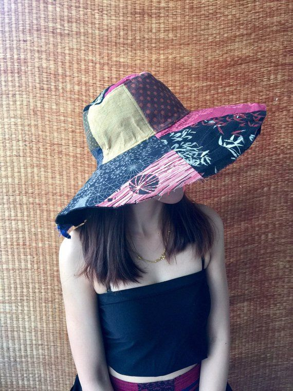 9aa4a96a6737c9 Multicoloured Unique Patchwork Wide Brim Hippie Festival Sun Hats Cotton Hat  Lady Stylish Colorful Hippy Gypsy Gift for women Chic fashion