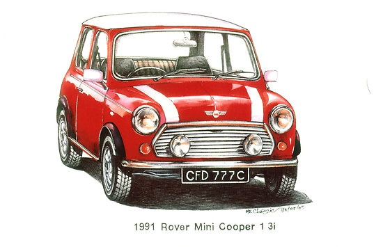 Red 1991 Rover Mini Cooper $3