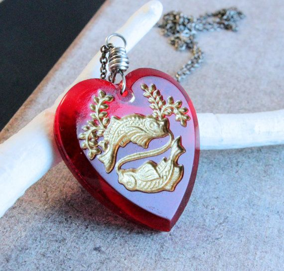 Pisces    Necklace   Oxidized Silver  Red Heart Pendant  by Hildes