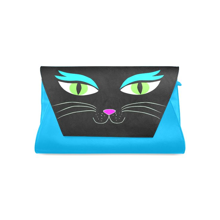 black_cat_face_clutch_blue Clutch Bag (Model 1630)
