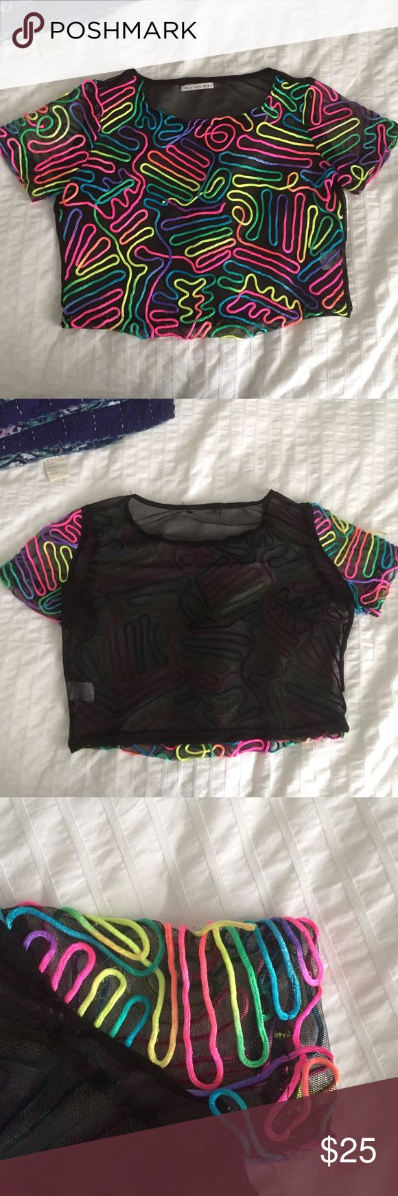 Nasty gal festival crop top Nasty gal neon pattern sheer crop top. I never wore this! It's so unique and would be the perfect piece for a festival or just to spice up your outfit. Size small. Nasty Gal Tops Crop Tops