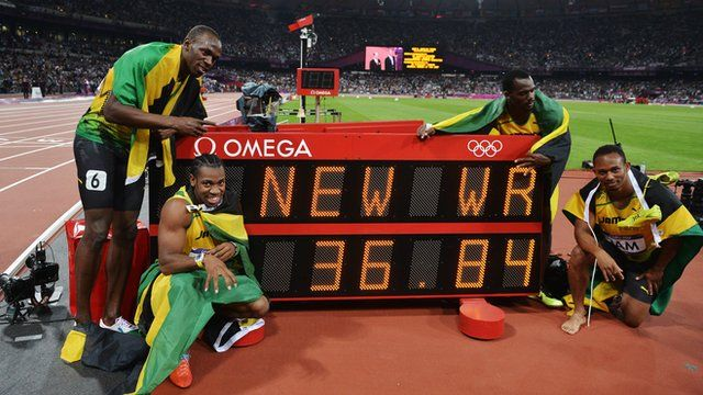 Jamaica's team of Usain Bolt, Yohan Blake, Nesta Carter and Michael Frater win gold in the men's 4x100m relay at the London 2012 Olympics in a world record time of 36.85 seconds.