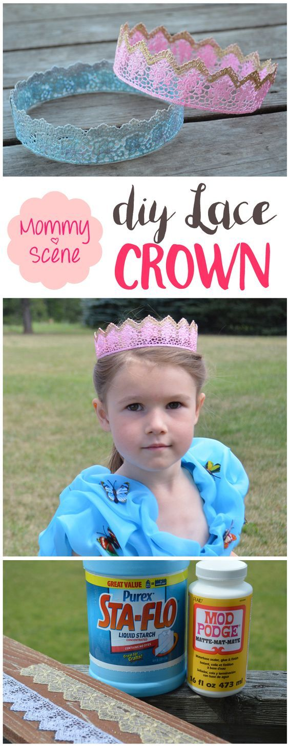 These DIY lace crowns made out of stiffened lace are SO fun to design and easy to make! Pretty lace crowns for princesses, girls birthday parties, and dress up.