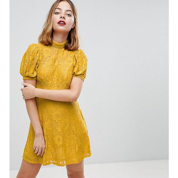 ASOS PETITE Mini Lace Dress With Puff Sleeve ($49) ❤ liked on Polyvore featuring dresses, yellow, petite lace dress, short cocktail dresses, yellow mini dress, mini dress and short dresses
