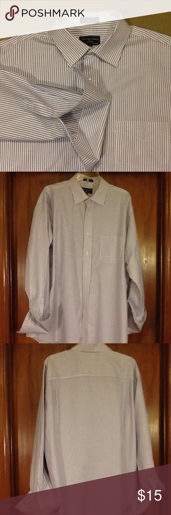 Meeting Street French cuff men's shirt, 17, 34/35 Excellent pre-owned condition. 80's 2 ply twill in 100% cotton. White with blue pinstripes. Very elegant with spread collar and french cuffs. Meeting Street Shirts Dress Shirts