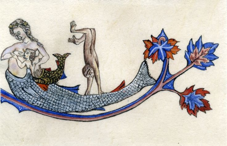 Restored border illustration of a breast-feeding mermaid in The Alphonso Psalter. 1284. British Library, Manuscript Additional MS 24686, London.