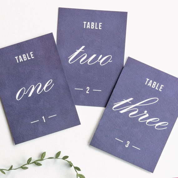 """Traditional Style Table Numbers / Navy Blue - 7x5"""""""