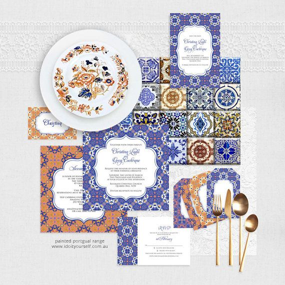 painted portugal wedding stationery set  by idoityourself on Etsy, $16.50