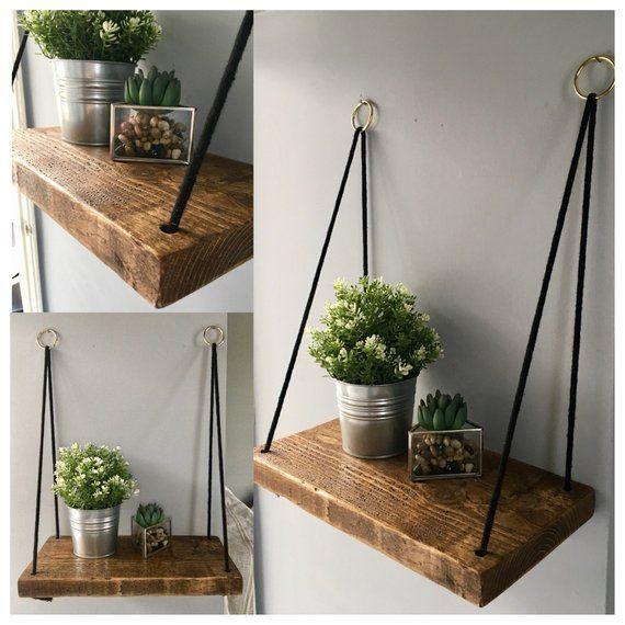 Rope Shelf – Hanging Shelf – Gold Strap – Scaffold Board Shelves – Rustic Rope Shelf – Wooden Sh …