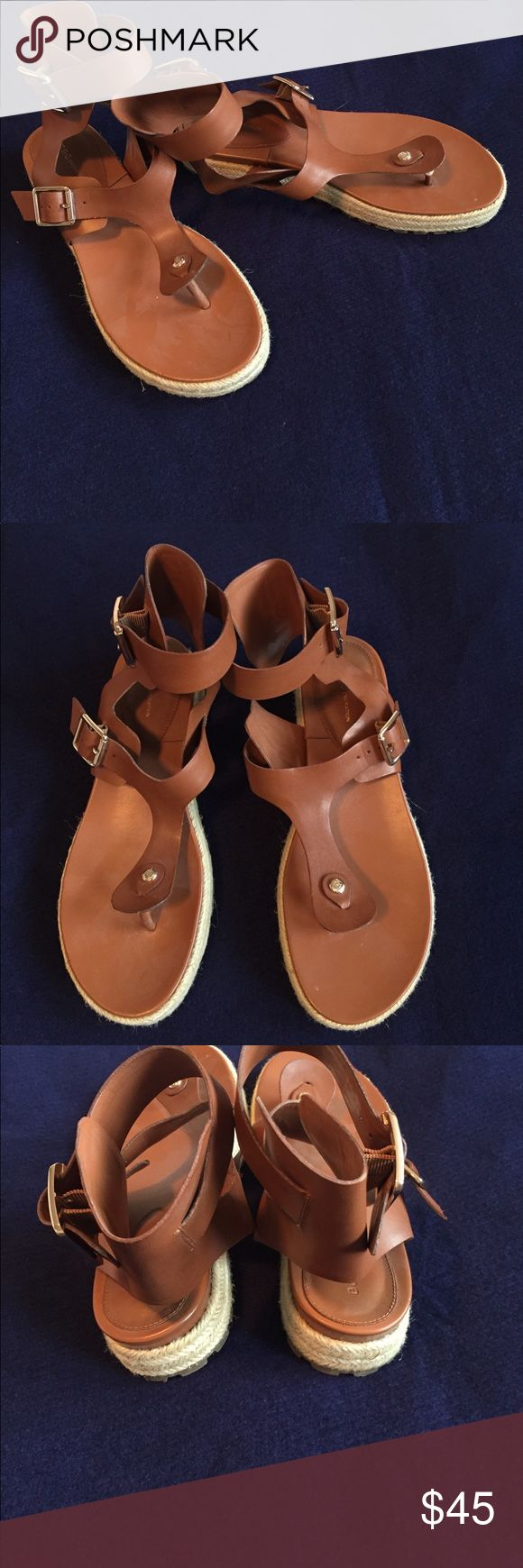 BCBGeneration toffee Edmund leather sandal size 8