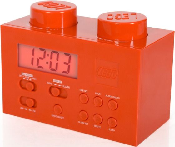 LEGO Radio Alarm Clock - This portable alarm clock speaker is rammed with numerous features like its awesome design and functions. Aside from its adjustable backlit display, this device  boasts an AM/FM radio and an alarm function that wakes you up with a buzzer or your favorite radio station.