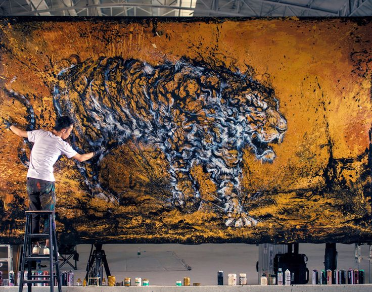 hua tunan's chaotic yet controlled painted tiger blends textures + techniques