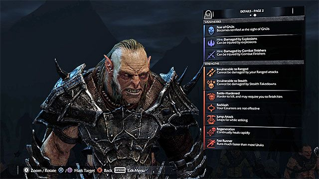 An example page with weak an strong points of a member of the Saurons Army - Weak and strong points of the members of the Saurons Army - Saurons Army (Nemesis System) - Middle-earth: Shadow of Mordor - Game Guide and Walkthrough