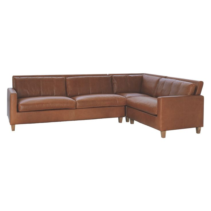CHESTER Mid tan leather left-arm corner sofa, oak stained feet