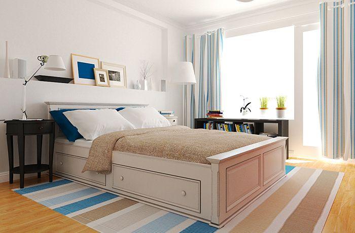 однокомнатная квартина в скандинавском стиле, синий в интерьере, белый в интерьере, спальня в скандинавском стиле, современная спальня, дизайн интерьера спальни, белый плинтус, дизайн интерьера в Москве, дизайнер интерьера Антон Печёный