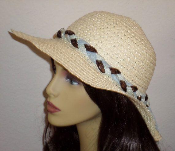 Hippie Braid Ladies Sun Hat  Ladies Floppy Sun by SugarBearHair
