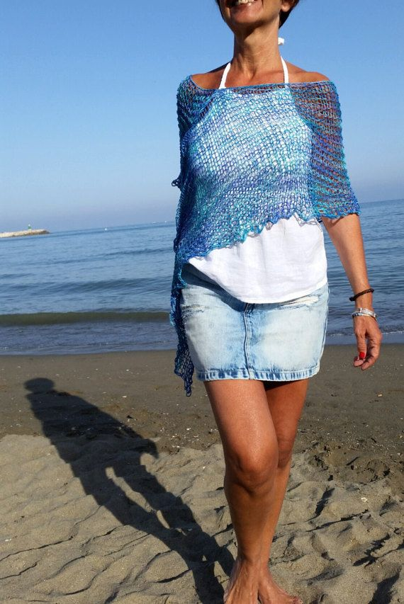 Blue knit poncho for women, cotton dress top, beach cover up, women's poncho, eco friendly, hand knit blue wrap, natural fibers