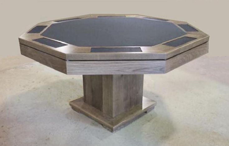 Modern pedestal poker table   in walnut, with charcoal felt and navy blue leather in chip  holders..