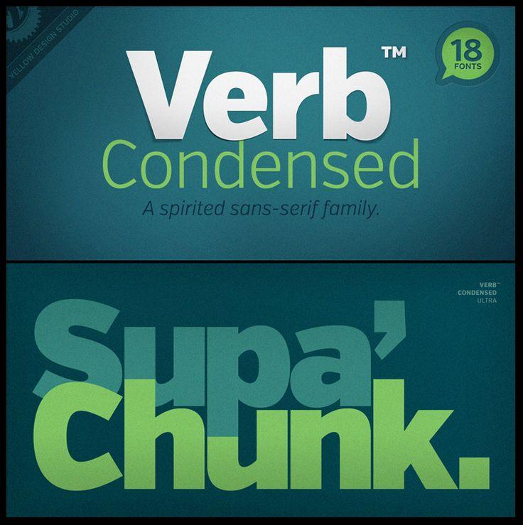 Verb Condensed font - fabulous, friendly family, 18 classic sans faces