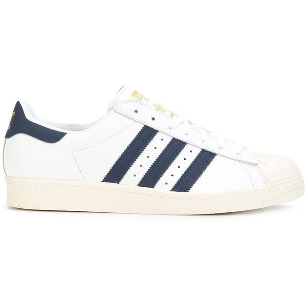 Adidas Adidas Originals Superstar 80's sneakers found on Polyvore featuring polyvore, women's fashion, shoes, sneakers, white, 80s sneakers, adidas originals shoes, 80s shoes, white lace up shoes and star sneakers
