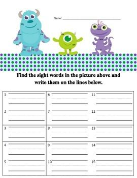 Free Monsters Inc. 3D printable activities for kids
