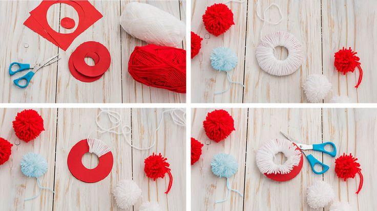 Pom pom craft | How to make a pom pom christmas wreath | Tesco Living