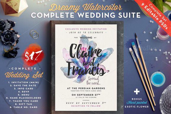 Dreamy Watercolor Wedding Suite II by The Wedding Shop on @creativemarket