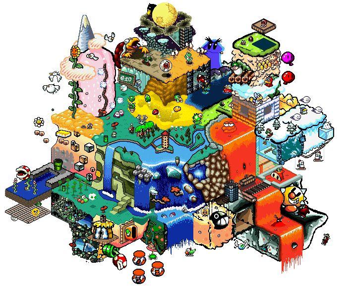 Um sonho: jogar Mario nesses mapas isométricos feitos por fãs