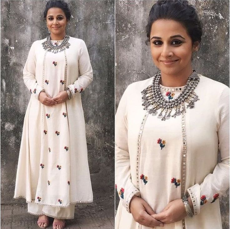 Vidhya balan in mirror work white palazzo suit