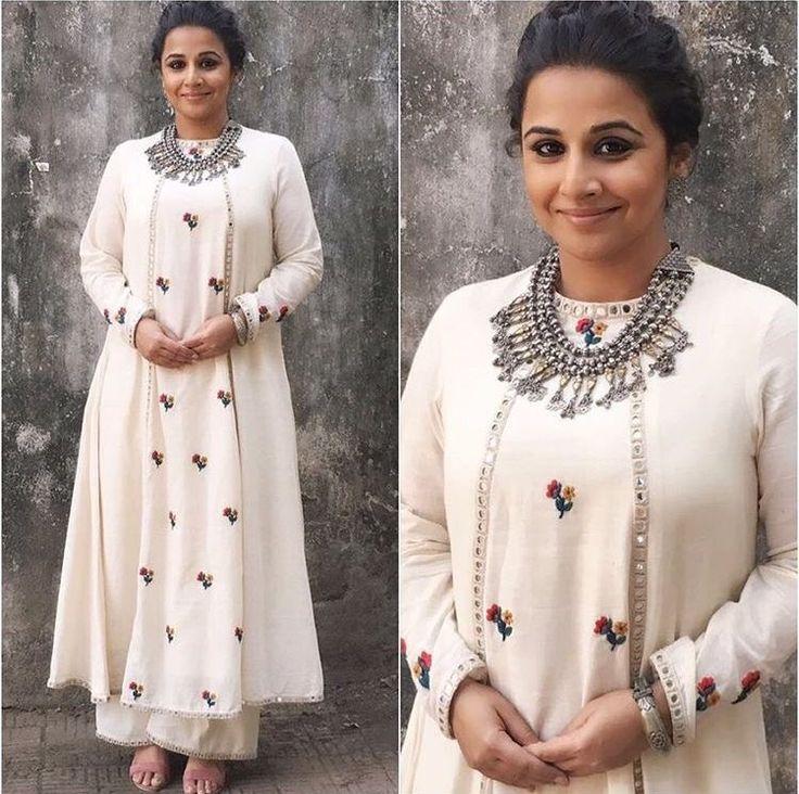 Vidhya balan in mirror work white palazzo suit