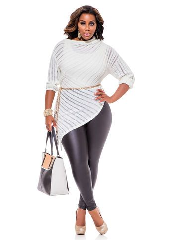 Ashley Stewart Web Exclusive Asymmetrical Sweater, Pleather Leggings and Gold Chain and Tassel Belt