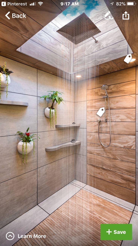 Spa shower with skylight and rain shower | Washroom ...