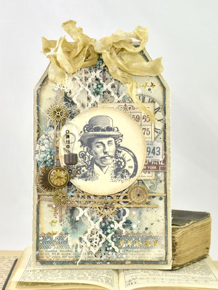 Masculine mixed media tag - Cathrine Sandvik - Stempelglede :: Design Team Blog