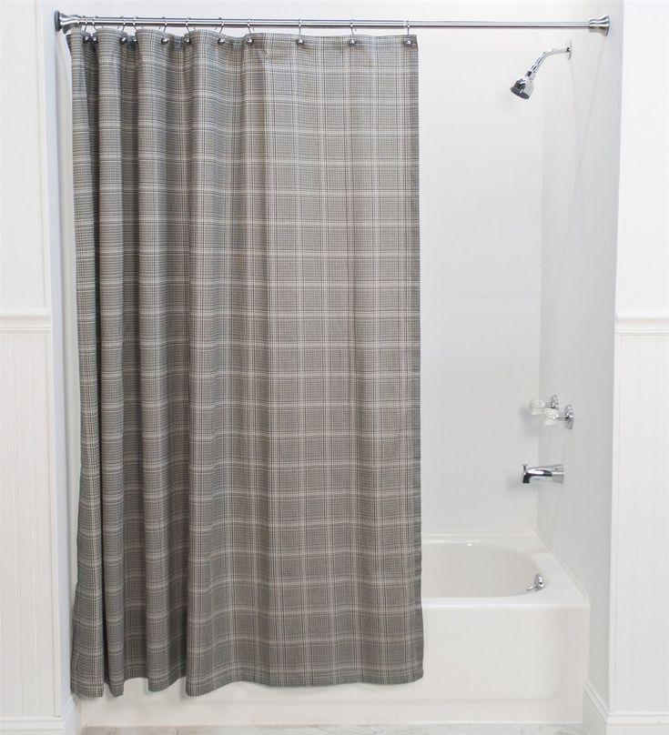 Morrison Plaid Print Cotton Twill Fabric Shower Curtain