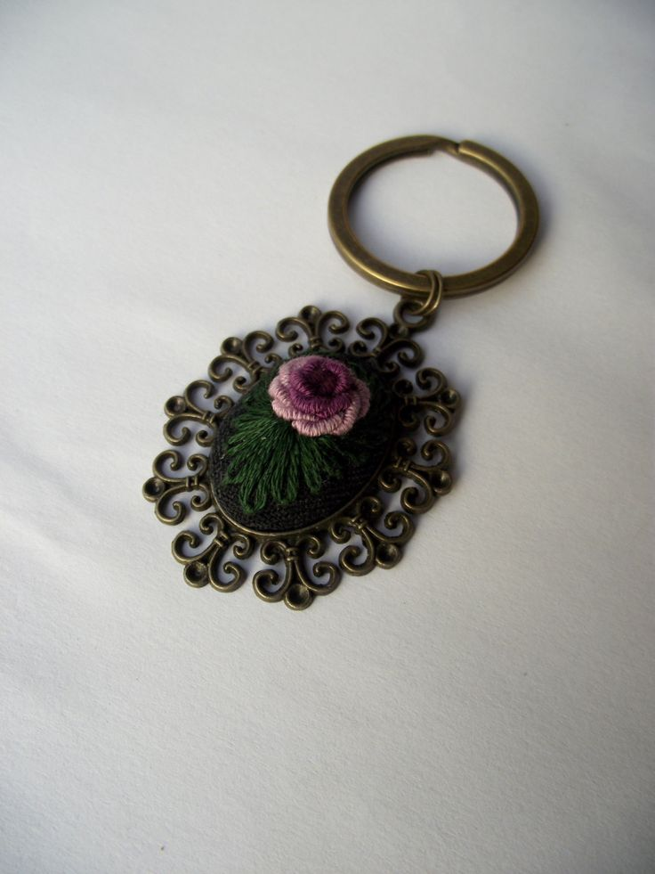 Hand embroidered charm, embroidered keychain, with violet rose by ZoZulkaart on Etsy