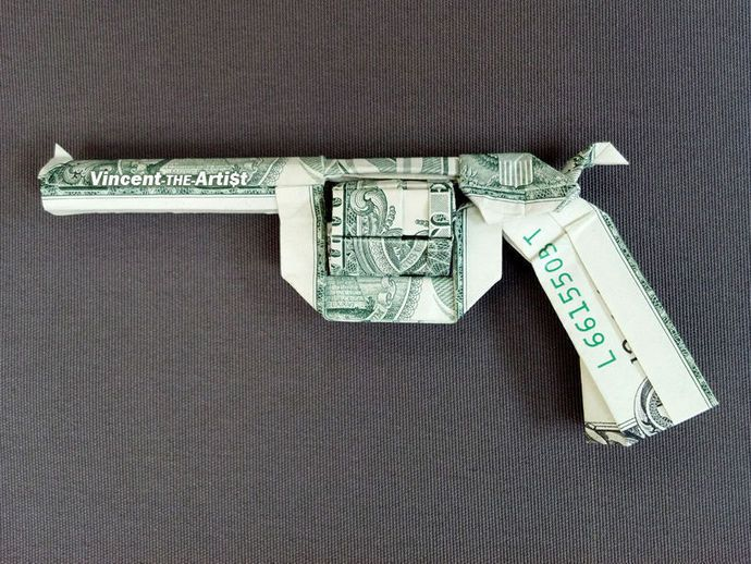 REVOLVER GUN Money Origami Dollar Bill Weapon Gun Assault Rifle Cash Sculptors Bank Note