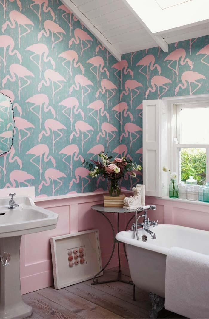Frauen Badezimmer Unglaubliche Und Kreative Dekor Ideen Neu Dekoration Stile Flamingo Tapete Badezimmer Tapete Kleines Bad Dekorieren