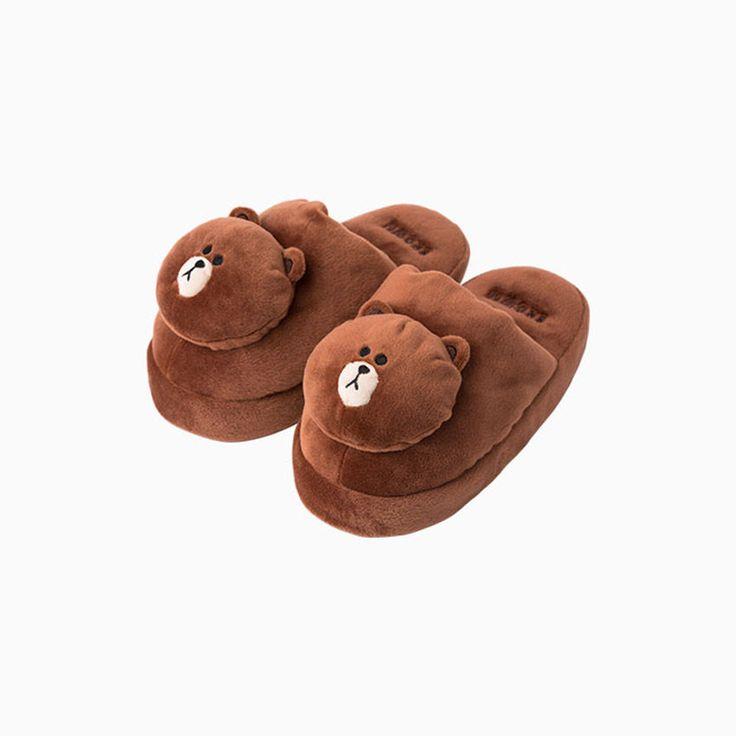 Naver Line Friends Official Goods : Brown Kids Slipper (Small)